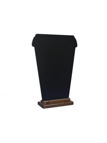 """Меловая доска """"Кофе с собой"""" 42см на деревянной подставке"""